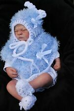 hand knitted baby girl blue / white  fur poncho  bonnet  booties . 0/3m