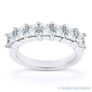 Forever Brilliant Square Cut Moissanite 14k White Gold 7-Stone Ring Wedding Band
