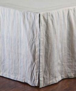 NEW  POM POM AT HOME Stripe Pleated Mystic Linen Bed Skirt BEDSKIRT QUEEN