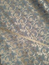 """Damask Brocade Silver/ Purple/ B. Blue In a Jacquard 60"""" By The Yard"""