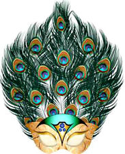 20 WATER SLIDE NAIL ART DECALS TRANSFERS MARDI GRA MASK WITH PEACOCK FEATHERS