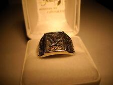 Black Hills Gold Man's Eagle Ring Sterling Silver & Gold Leaves Size 12