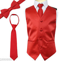 SOLID Colors Kid Boy's Tuxedo Vest Zipper Neck Tie & Bowtie 3pcs Set SIZE 2 - 14
