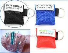 Black Emergency CPR Face Mask Cover Shield First Aid Resuscitation KeyRing Chain