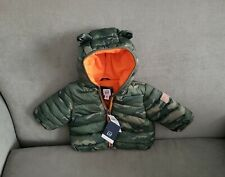 0 3 6 M BABY GAP Green Hooded Critter Bear CAMO Jacket Coat New Boy NWT
