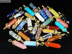 Natural Gemstones Hexagonal Pointed Reiki Chakra Pendant Charms Gold Plated Cap