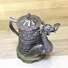 Antique Bronze and Silver Plated Beer Mug & figure Dragon In its Mouth Oil Lamp