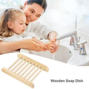 5PCS Portable Wooden Soap Tray Bathroom Kitchen Soap Dish Storage Box Rack AU