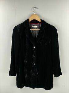 Coldwater Creek Women's Vintage Long Sleeve Velour Coat - Size Small - Black