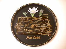 Vintage Metal Tole Painted Flower South Dakota Souvenir Tray, 11 inch, #1