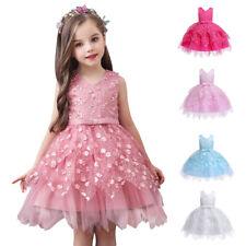 Toddler Kids Girls Sleeveless Lace Tulle Tutu Dress Wedding Bridesmaid Dresses