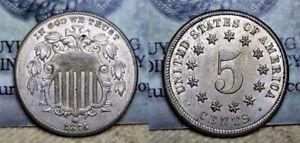 1875 Shield Nickel 5c AU/BU