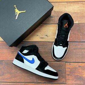 Nike Air Jordan 1 Mid (GS) Black/Racer Blue- white