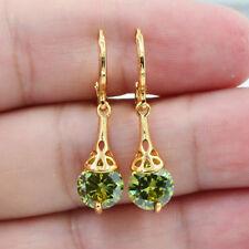 18K White Gold Filled Olive Green Zricon Topaz Gemstone Women Earrings Jewelry