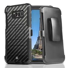 For Galaxy S8 Hybrid Armor Defender Impact Case Stand Clip Holster Carbon Fiber