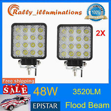 2pcs LED 48W 12V 24V Work Light FLOOD Light Off-Road ATV SUV Boat Jeep motor RLY