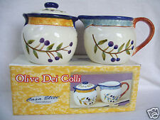 Casa Elite Vintage Olive Dei Colli Elite Sugar & Creamer Set New In Box