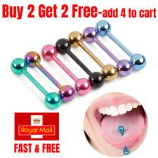 7 PCS Colourful Steel Bar Tongue Rings Body Piercing Jewelry Tongue Bars Summer