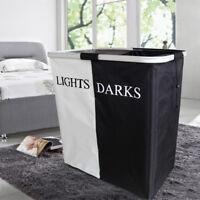Black White Double Hamper  Laundry Washing Hamper Storage Basket Bin  53*28CM