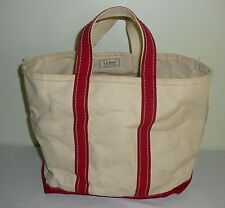 Vtg LL Bean Boat & Tote Canvas Bag White & Red Striped Small Freeport Maine USA