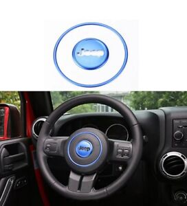 Car Steering Wheel Center Trim Ring Fit 11-16 Jeep Wrangler Compass Patriot Blue