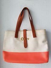 7f55fcab96 Fossil Canvas Tote Handbag Shoulder Bag Purse Leather Trim Orange & White