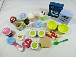 Wooden Kitchen Play Utensils and Stock. 27 pieces in total. Pre-loved. Pretend
