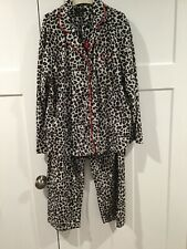 Ellen Tracy Pajamas Womens Medium XL Leopard Print Button Down Fleece 2-Piece