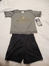 MIZZOU Athletics RUSSELL Infant Gray Shirt and Black Shorts Size 18 Months