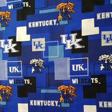 """New listing University Of Kentucky Wildcat Uk Cotton F 00004000 Abric 1/2 yard 18"""" x 44"""" Sku 15234909"""