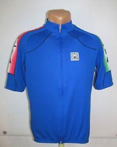 SMS SANTINI ITALIA TEAM CYCLING JERSEY SHIRT MAGLIA MAILLOT BLUE ITALY sz XL MEN