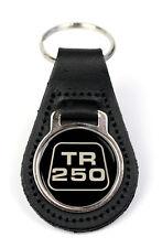 Triumph TR250 Logo Quality Black Leather Keyring