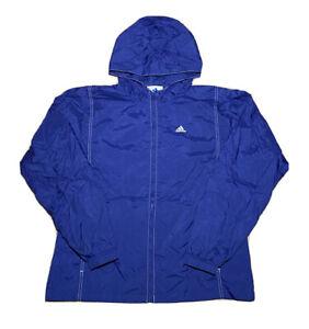 Vintage 1990s Adidas Triangle Logo Embroidered Navy Windbreaker Jacket Size L