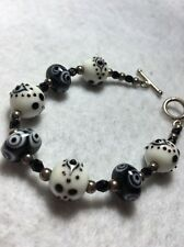 "Vintage Small 7"" Sterling Silver Toggle Clasp Art Glass Bracelet"