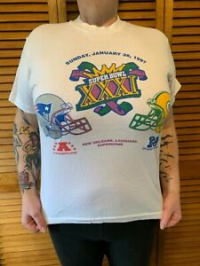 Vintage 1997 Super Bowl XXXI Packers vs Patriots T Shirt Unisex Sz. (M) NOLA