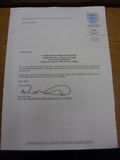 15/02/2002 England Women v Portugal Women [At Portsmouth] Offical Headed Letter