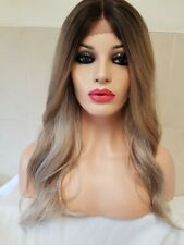 Shoulder Length Sandy Mousey Dark Silver Blonde Real Human Hair Wig Lace Front