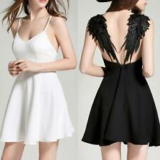 Women Sexy V-neck Wings Design Backless Evening Party Plunge Cami Mini Dress New