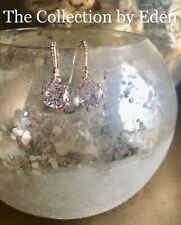 Charter Club Earrings- Rose Gold Simulated Crystal Dangle w/ Rhinestone Accents