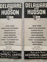 2 DELAWARE AND HUDSON RAILROAD MONTREAL LIMITED PASSENGER TIMETABLES 1952, 1957