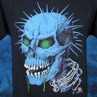 vintage 80s DEMON SKULL ZOMBIE PAPER THIN T-Shirt S satan skeleton punk biker