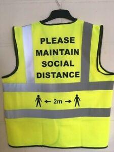 Yellow Social Distancing Hi Viz Waistcoat Maintain 2m KEEP SAFE