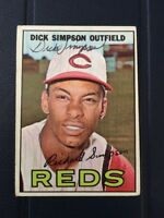 DICK SIMPSON 1967 TOPPS AUTOGRAPHED SIGNED AUTO BASEBALL CARD 6 REDS