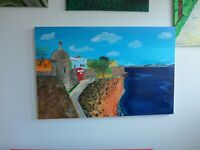 Puerto Rican Painting Art Acrylic on Canvas 40 X 26 Inches Puerta de San Juan