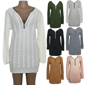 Ladies Chunky Cable Knitted Winter Long Bodycon Jumper Women's Sweater Dress Top