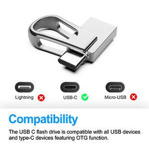 64GB USB 3.0 Dual Type-C OTG Flash Drive Waterproof Memory Stick Thumb U Disk