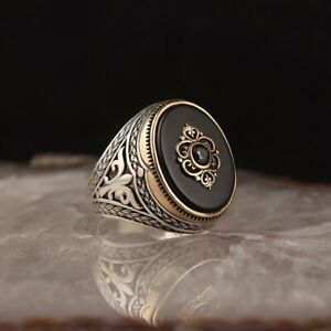 Handmade pure 925 sterling silver ring Onyx stone all sizes Box wedding RRP40