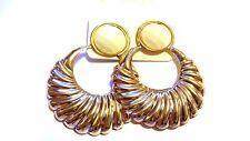 CLIP-ON EARRINGS GOLD TONE SCALLOP HOOP EARRINGS ASSORTED COLORS 3 INCH L 2 IN W