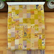 Indian Patchwork Kantha Quilt Embroidered Bedspread Vintage Bedding Throw Decor