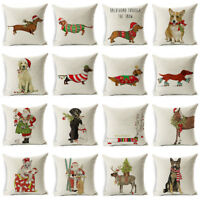 "18X18"" Christmas Dog Linen Cushion Cover Throw Pillow Case Sofa Bed Home Decor"